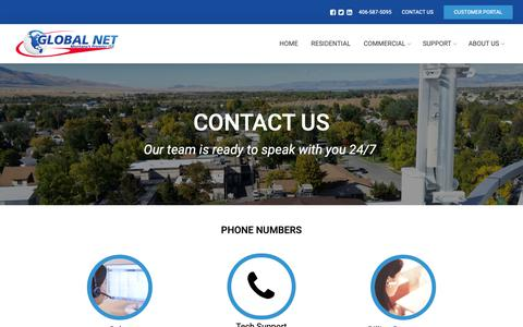 Screenshot of Contact Page theglobal.net - Contact Us – Global Net - captured Sept. 28, 2018