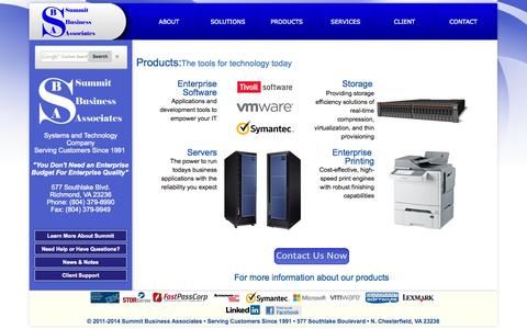 Screenshot of Products Page summitbiz.net - SBA | Products - captured Oct. 6, 2014