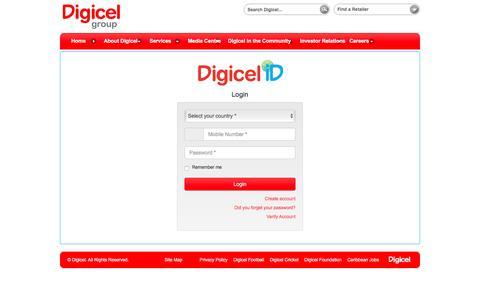 Screenshot of Login Page digicelgroup.com - Login - captured June 29, 2016