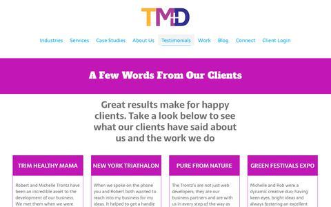 Screenshot of Testimonials Page trontz.com - TMD   A Colorado Integrated Marketing + Design Agency Testimonials - captured Jan. 31, 2019