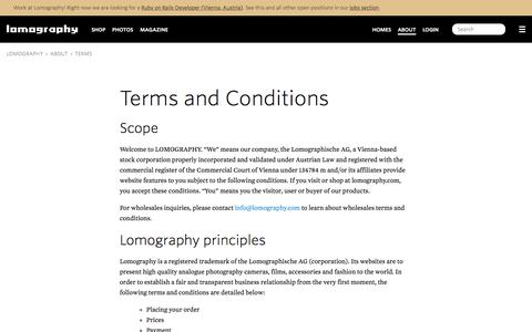 Screenshot of Terms Page lomography.com - Terms · Lomography - captured Aug. 21, 2016