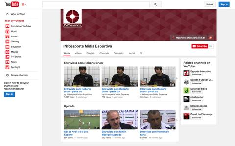 Screenshot of YouTube Page youtube.com - INfoesporte Mídia Esportiva  - YouTube - captured Oct. 30, 2014