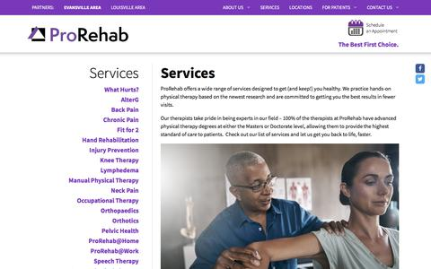 Screenshot of Services Page prorehab-pc.com - Services - ProRehab-PC - captured July 14, 2018