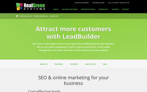 Screenshot of Services Page rganalytics.com - Lawn Care SEO & Online Marketing | Lead Builder | Real Green Systems - captured Oct. 26, 2014