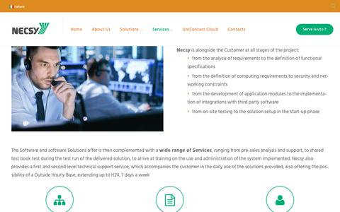 Screenshot of Services Page necsy.it - Services - Necsy S.R.L. - captured Oct. 18, 2018