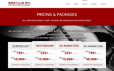 Screenshot of Pricing Page reptilefx.com - How much does an Animated Explainer Video Cost? | Reptile FX - captured Dec. 16, 2016
