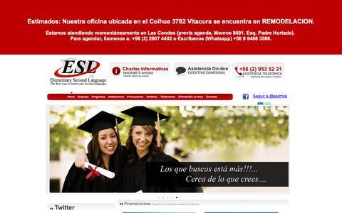 Screenshot of Home Page escuelasdeingles.cl - Cursos de ingles en el extranjero, estudia y trabaja - captured Jan. 27, 2016