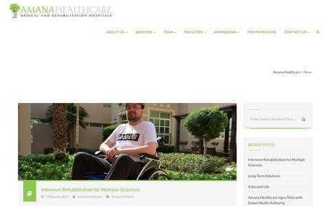 Screenshot of Press Page amanahealthcare.com - News – Amana Healthcare - captured May 29, 2017