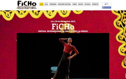 Screenshot of Home Page fichofest.com - Festival Internacional de Circo y Chou de Mexico - captured Oct. 5, 2014