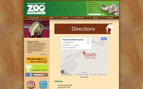 Screenshot of Maps & Directions Page rosamondgiffordzoo.org - Rosamond Gifford Zoo - captured Oct. 1, 2014