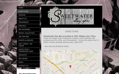 Screenshot of Maps & Directions Page sweetwaterchico.com - Sweetwater Day Spa - DIRECTIONS - captured Nov. 4, 2014