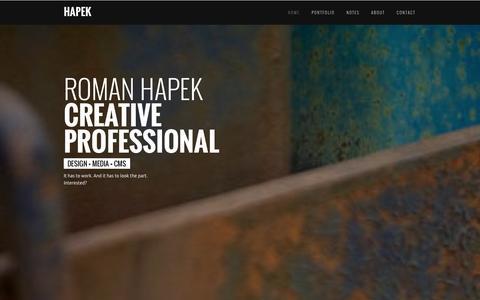Screenshot of Home Page hapek.com - HAPEK - captured Oct. 2, 2014