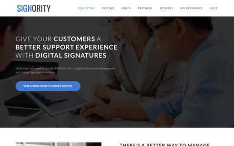 Screenshot of Support Page signority.com - Small businesses document management and digital signature solutions - captured Jan. 22, 2019