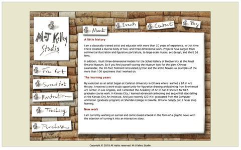 Screenshot of About Page m-jkelleystudio.com - M-J Kelley Studio | About - captured Nov. 5, 2018