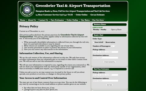 Privacy Policy | Greenbrier Taxi & Airport Transportation