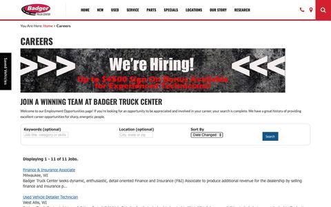 Screenshot of Jobs Page badgertruck.com - Milwaukee Automotive Jobs   Careers   Badger Truck Center - captured Oct. 5, 2018