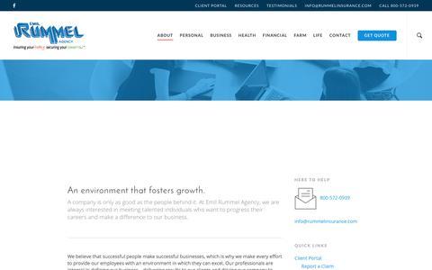 Screenshot of Jobs Page rummelinsurance.com - Careers - Emil Rummel Agency - Michigan Insurance Specialists - captured Aug. 2, 2017