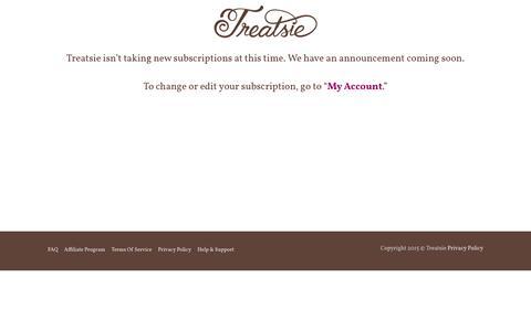 Screenshot of Signup Page treatsie.com - Announcement – Treatsie Artisan Sweets - captured Oct. 4, 2017