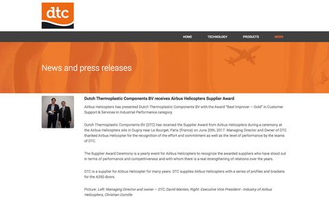 Screenshot of Press Page composites.nl - NEWS - DTC - captured Oct. 13, 2017