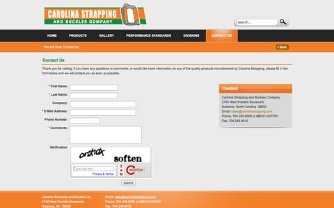 Screenshot of Contact Page carolinastrapping.com - Strapping, Buckles, & Accessories | Carolina Strapping and Buckles Company | Contact Us - captured Oct. 2, 2014