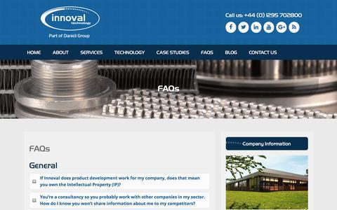 Screenshot of FAQ Page innovaltec.com - FAQs - Innoval Technology : Innoval Technology - captured Oct. 15, 2017