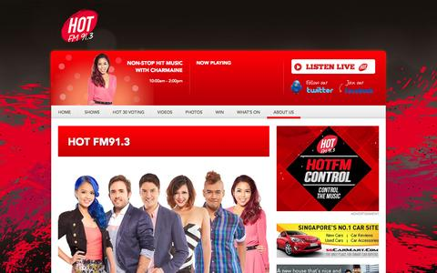 Screenshot of About Page hotfm.sg - About Us - Singapore's Hottest Hits HOT FM91.3 - captured Nov. 4, 2014
