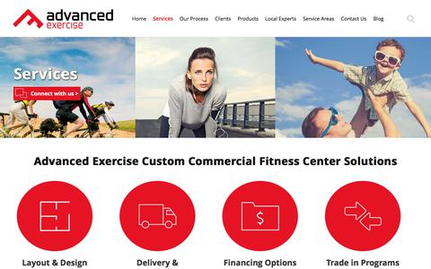 Screenshot of Services Page advancedexercise.com - Custom Fitness Center Solutions | Commercial Gym Equipment | Advanced Exercise - captured Oct. 7, 2017