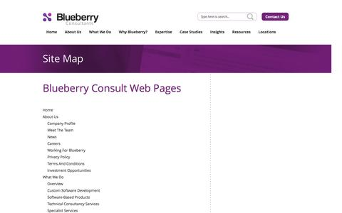 Screenshot of Site Map Page bbconsult.co.uk - Blueberry Consultants > Map - captured Nov. 22, 2016