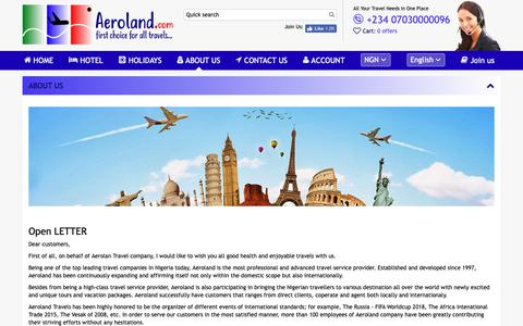 Screenshot of About Page aerolandtravels.com captured Oct. 3, 2018