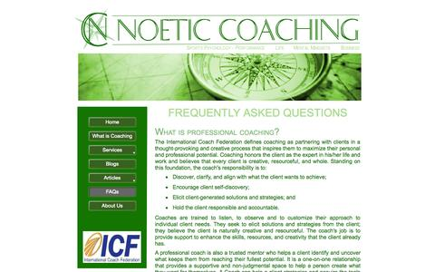 Screenshot of FAQ Page noeticcoaching.net - Frequently Asked Questions about Coaching - captured Oct. 26, 2014