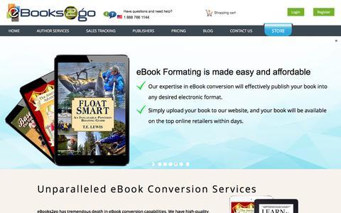 Screenshot of Home Page ebooks2go.net - eBook Publishing | eBook Conversion | Book Publishers - captured Jan. 22, 2016