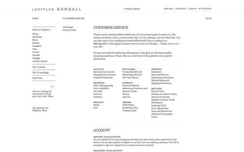 Screenshot of Support Page loefflerrandall.com - Loeffler Randall - Customer Service - captured Sept. 25, 2014