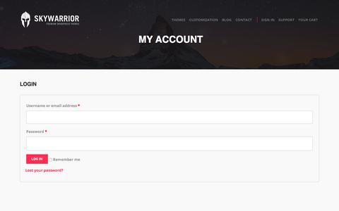Screenshot of Login Page skywarriorthemes.com - My Account | Skywarrior Themes - captured Sept. 21, 2018