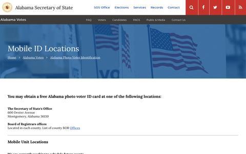 Screenshot of Locations Page alabama.gov - Mobile ID Locations | Alabama Secretary of State - captured Dec. 2, 2018
