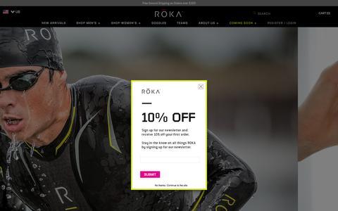 Screenshot of Home Page rokasports.com - Triathlon Wetsuits, Swimskins and SIM Shorts - ROKA Sports - captured Aug. 13, 2015