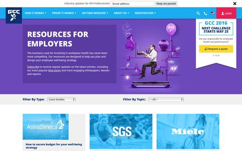 Screenshot of Case Studies Page gettheworldmoving.com - Resources for HR Managers on employee and workplace wellbeing best practice - captured Jan. 22, 2016