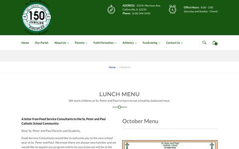 Screenshot of Menu Page sspeter-paulschool.org - Cafeteria - Ss. Peter and Paul Catholic School - captured Oct. 24, 2018