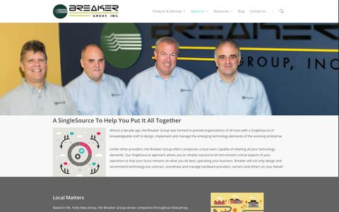 Screenshot of About Page breakergroup.com - About Us - The Breaker Group - captured Oct. 26, 2014