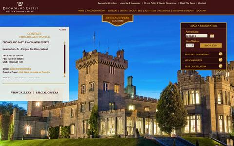 Screenshot of Contact Page dromoland.ie - Breaks In Clare, Hotel deals Clare - Dromoland Castle Hotel Ireland - captured Sept. 24, 2015