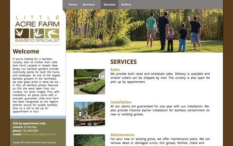 Screenshot of Services Page littleacrefarm.com - Little Acre Farm - New Jersey Bamboo Wholesale and Retail - captured June 19, 2016