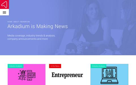 Screenshot of Press Page arkadium.com - Company News & Industry Trends   Arkadium - captured July 13, 2018