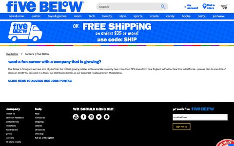 Screenshot of Jobs Page fivebelow.com - careers | Five Below - captured March 20, 2019