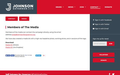 Screenshot of Press Page johnsonforgovernor.org - Media - Johnson for Governor - captured July 3, 2018