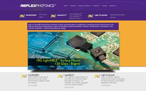 Screenshot of Home Page reflexphotonics.com - Light on board optical connectivity solutions - Reflex Photonics Inc. - captured July 11, 2014