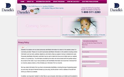 Screenshot of Privacy Page daniellesfoundation.org - Privacy Policy - captured Sept. 30, 2014