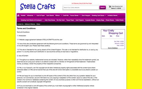Screenshot of Terms Page stellacrafts.co.uk - Stella Crafts Terms and Conditions - captured June 10, 2016