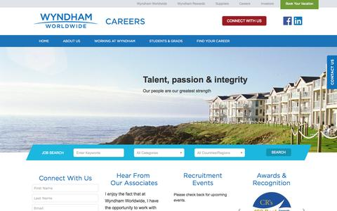 Screenshot of Jobs Page wyndhamworldwide.com - Wyndham Careers - captured Oct. 28, 2015