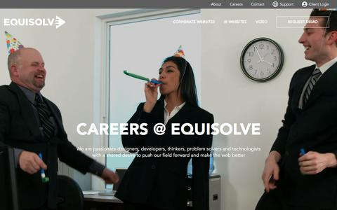 Screenshot of Jobs Page equisolve.com - Careers :: Equisolve - captured July 20, 2018