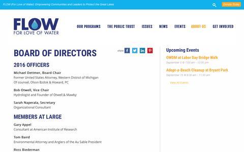 Screenshot of Team Page flowforwater.org - BOARD OF DIRECTORS - FLOW - captured Aug. 3, 2016