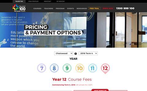 Screenshot of Pricing Page talent-100.com.au - HSC Tutor Pricing   Talent 100 - captured Oct. 20, 2018